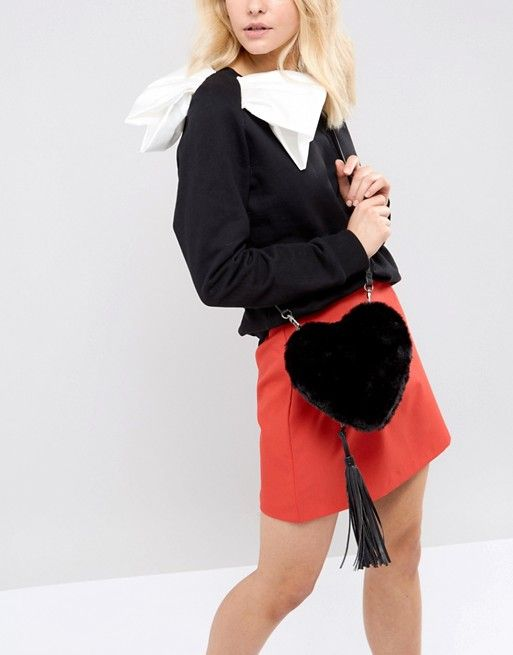 Essentiel Antwerp Faux Fur Heart Shoulder Bag