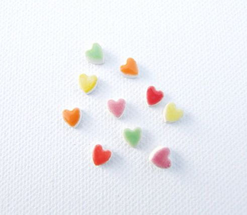 Tiny heart earrings ceramic