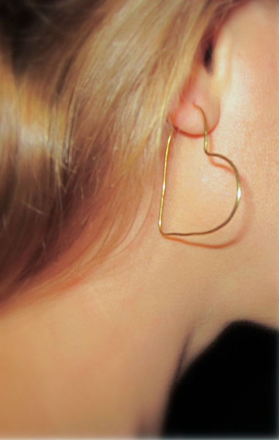 Heart Hoop Earrings, Organic Gold Heart