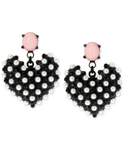 Betsey Johnson Pearl Heart Earrings