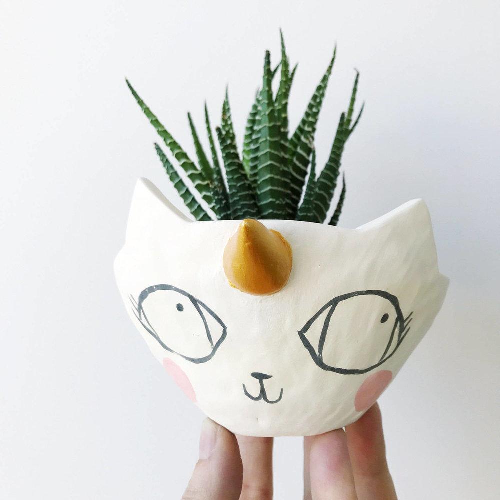 Tierra Sol Studio unicorn cat planter