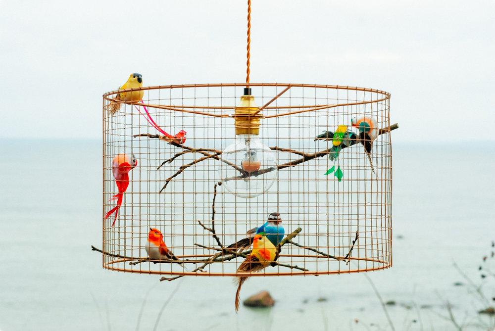 Copper Birdcage Pendant Light Chandelier