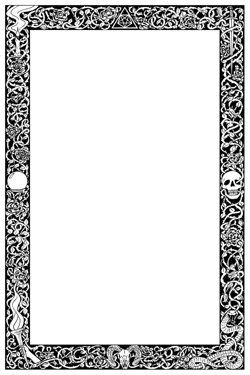 Gothic Book Border. Copyright owned by client and granted for personal promotional use by client to Alison Schofield llustration