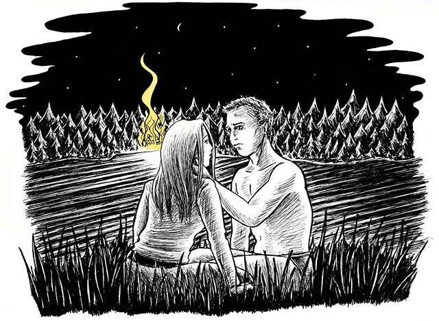 5th illustration for 'Gos Films' for the film proposal 'Guilt' written by George Louis Bartlett #film #illustration #illustrationart #thriller #cabin #woodland #woods #forest #fire #flames #water #lake #romantic #night #stars #blackandwhite #inkart #drawing #inkdrawing #ink #instagood #handdrawn #penart #inktober #fairytale #gothic #art #inkartist #penandink #illustrator