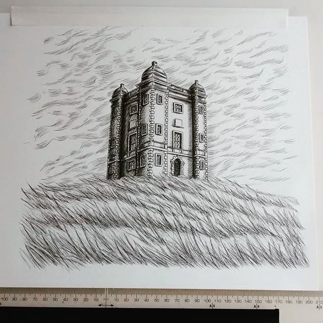 An ink study I've been working on in preparation for a private commission of The Cage at Lyme Park - will experiment with a moodier, darker sky for the final #lymepark #nationaltrust #cheshire #illustration #illustrationart #contemporaryart #commission #inkart #inkartist #inkdrawing #drawing #art #gothic #architecturedrawing #handdrawn #instagood #alisonschofield #penandink #unipin #blackandwhite #tudor #landscape #penart #sketch #sketchbook #cloud #tower #inklouvre