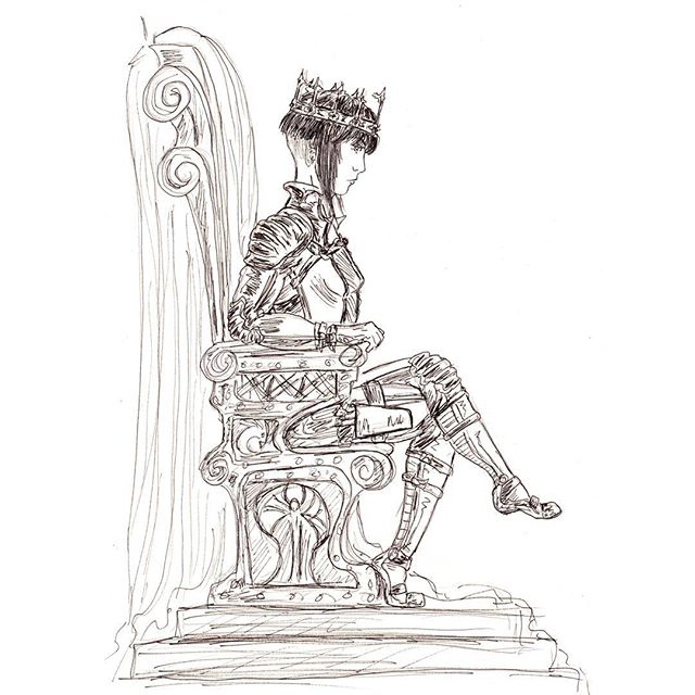 Initial character drawing of a gothic sci-fi queen character, still work in progress but Iike the attitude of this character :) #characterdesign #scifi #sciencefiction #fantasy #illustration #conceptart #sketch #sketchbook #sketch_daily #ink #inkdrawing #drawing #art #hairstyles #gothic #blackandwhite #instagood #inkwork #crown #throne #inkart #penandink #artonpaper #handdrawn #blackworknow #blackworkillustrations #contemporaryart #queen #royalty #futuristic