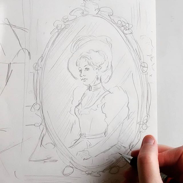 Morning sketching, late Victorian period character #sketch #sketchbook #sketching #sketch_daily #sketchaday #victorian #miniature #photograph #gothic #frame #lady #woman #illustration #illustrator #historical #art #drawing #vintage #dress #handdrawn #hair #hat #portraitdrawing #portraitsketch #portrait #pencil #doodle #characterdesign #instagood