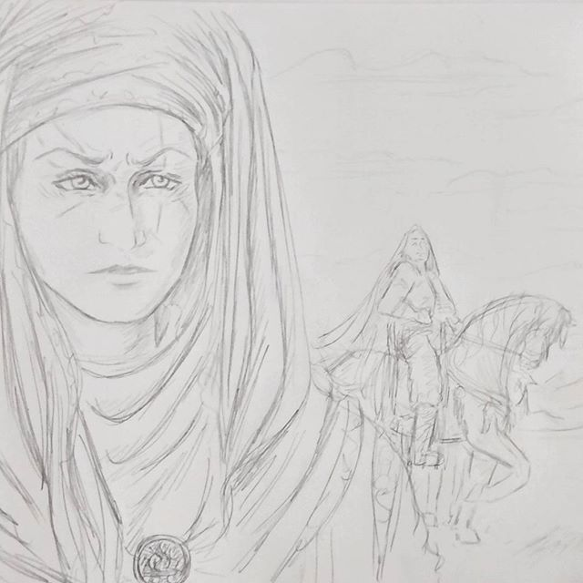 Concept sketches for a new story I'm working on #sketch #sketchbook #sketching #sketch_daily #sketchaday #illustration #illustrator #historical #fantasy #art #drawing #handrawn #portraitdrawing #portraitsketch #portrait #pencil #characterdesign #conceptart #instagood #horse#desert #headscarf #ancient #woman #lady #scar #scarred