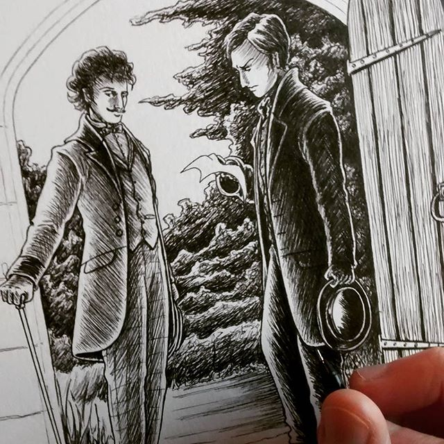 Been a while but here's a snapshot of a test piece I've been working on #sketch #sketchbook #sketching #sketchaday #victorian #gothic #gentlemen #illustration #illustrator #historical #art #drawing #handdrawn #characterdesign #instagood #garden #trees #doorway #cane #hat #blackandwhite #ink #inkdrawing #inkart #penandink #inkwork #manorhouse #countryhouse #unipin #inkartist