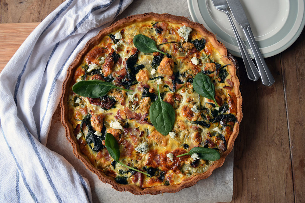 Bacon, Stilton and Spinach Tart