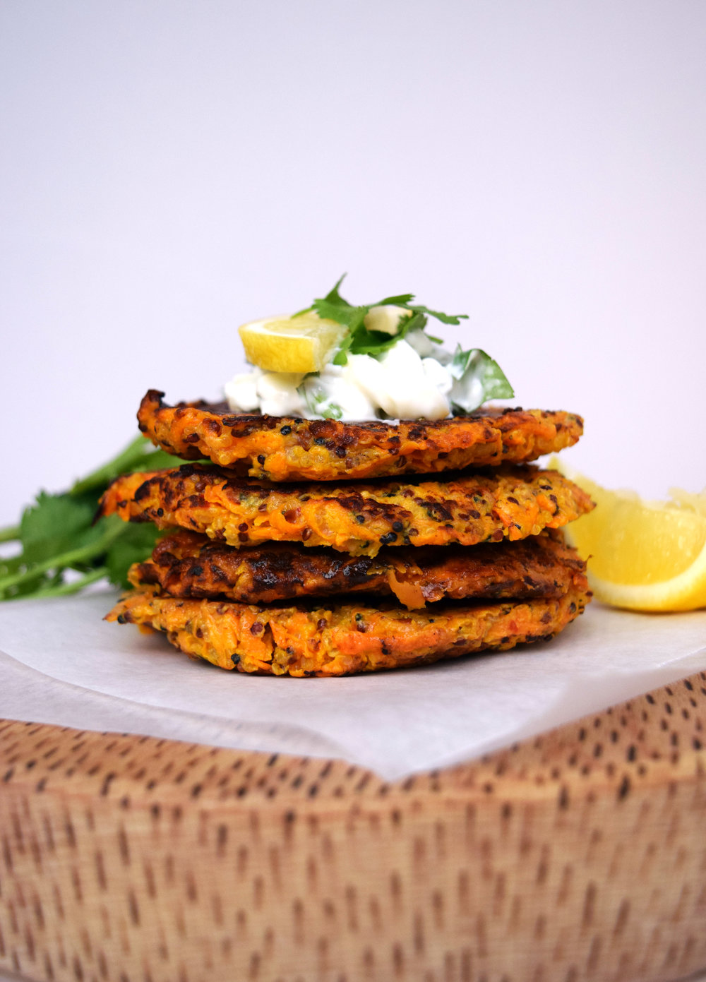 Carrot, Sweet Potato and Quinoa Fritters