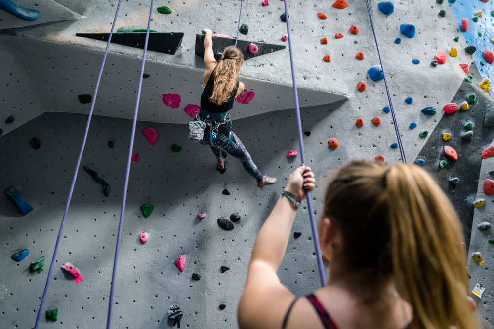 Top Rope with a Partner - Harness up and climb on a rope! Take a Beginner Lesson with a partner and learn how to Belay (manage the rope and gear).