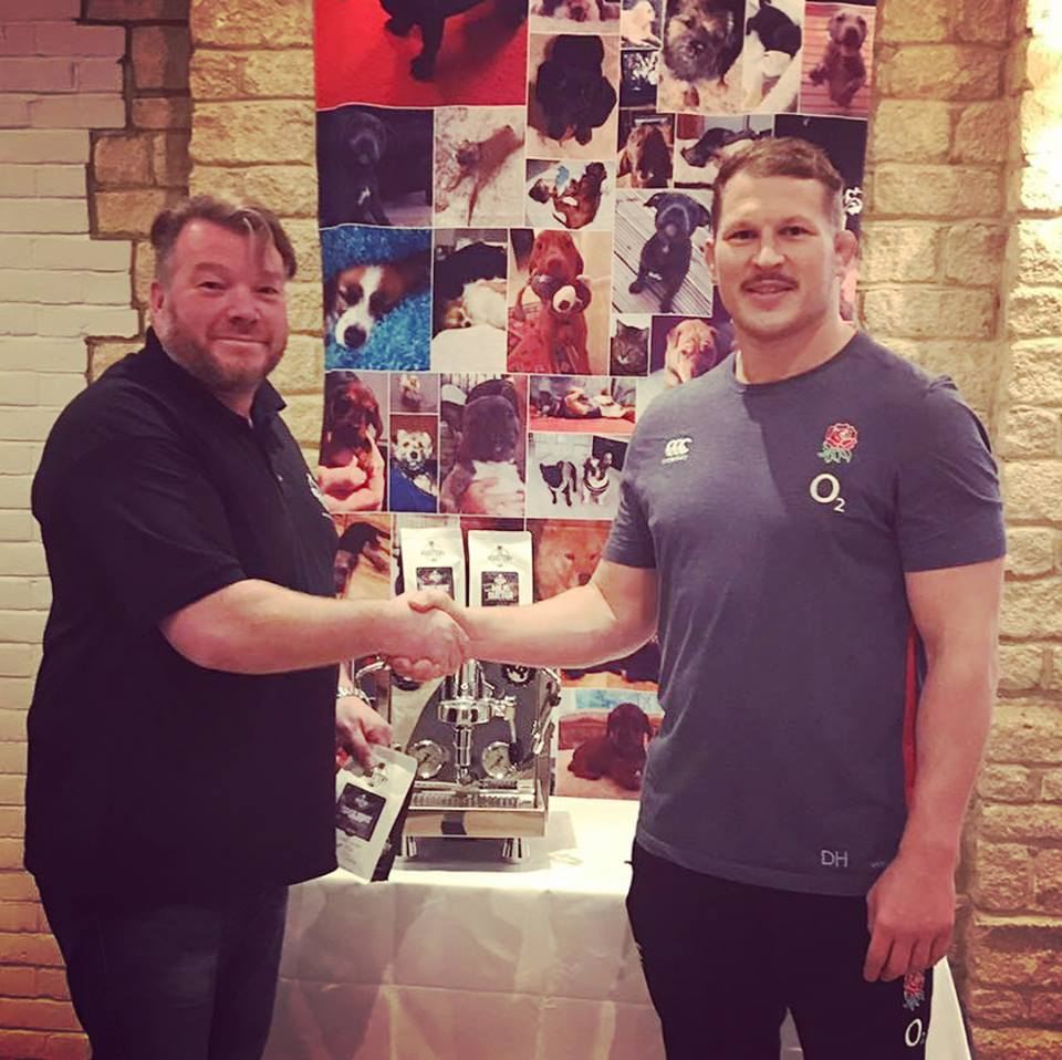 Marcel Binley, Managing Director of Bella Barista and England and Northampton Saints captain, Dylan Hartley