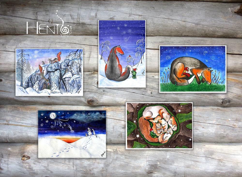 Grovehill Creative Studio | Hento Design® alkuperäiset joulukortit piirretään ja maalataan käsin.