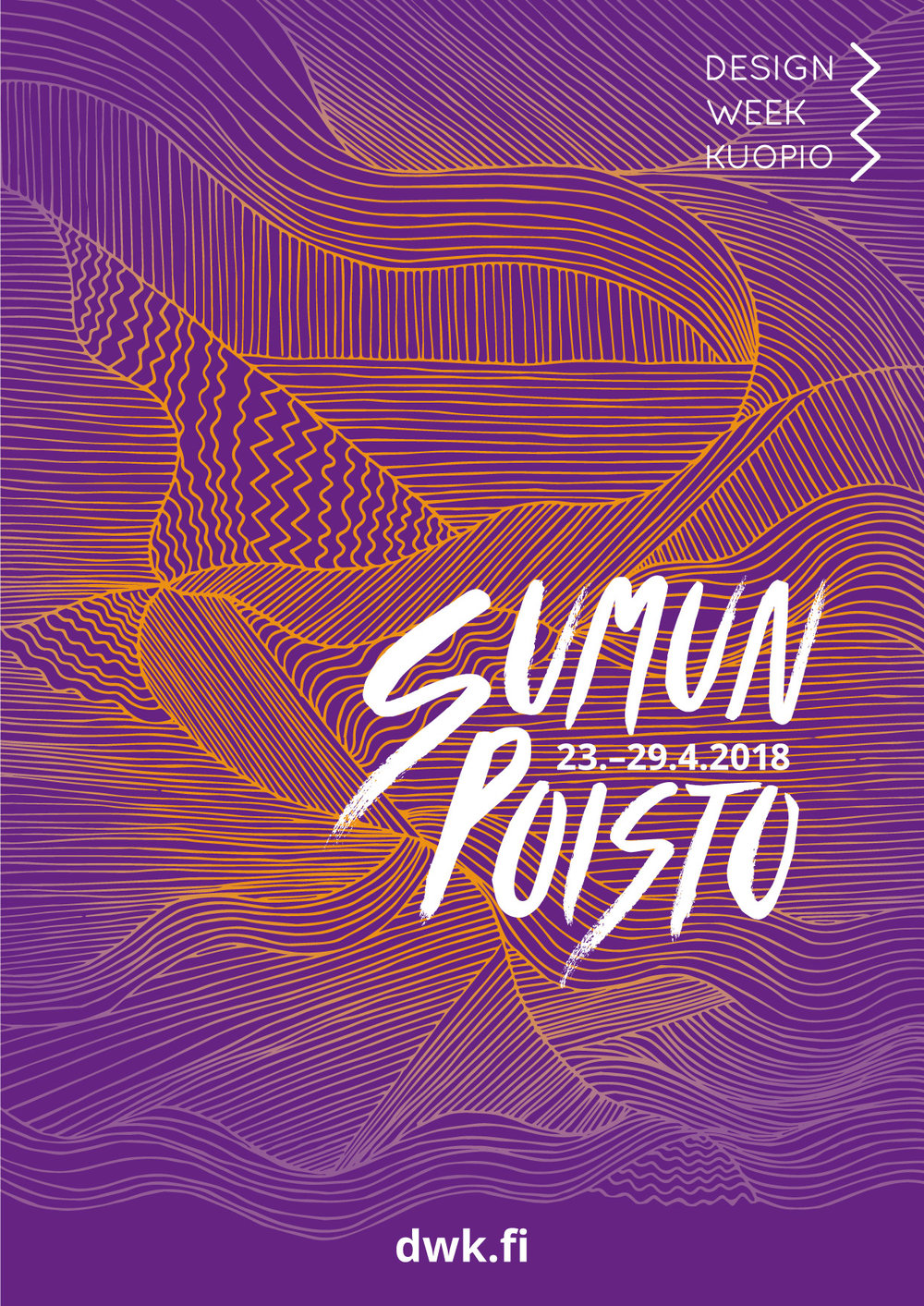 Design Week Kuopio 2018 - Visual Identity   Teamwork: Defogging Illustration (Sumun poisto) - Sonja Lehtomäki, Defogging Font and Poster Layout - Noora Ketolainen, Colours - Sonja Lehtomäki & Noora Ketolainen, Visual Identity brainstorming - Sonja Lehtomäki, Noora Ketolainen, Maiju Pääkkönen & Diana Pitkänen.