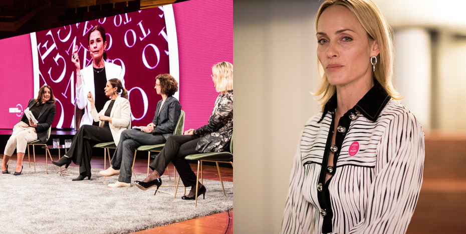 Panel Discussion (left) Host Amber Valetta (right)
