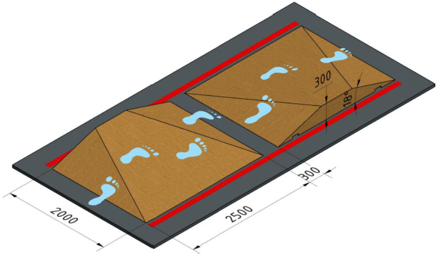 5. Schuine paden - Het gebeurt regelmatig dat je over een pad heenlooptwelke in een bepaalde richting gekanteld is. De pilootmoet nu stabiel blijven en rechtop kunnen lopen.