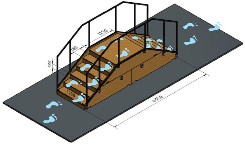 6. Trap - Eén van de grootste obstakels voor mensen in eenrolstoel: de trap. Een zeer gevaarlijk onderdeel datbestaat uit zes treden omhoog en omlaag. Het is aan de piloot te bepalen of hij vooruit of achteruit de trap af wilt.