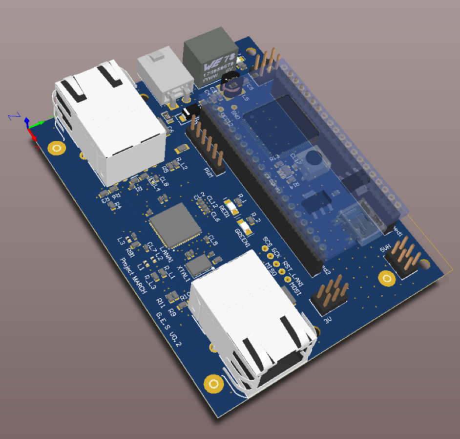 3D render of the communication board that is currently in production.