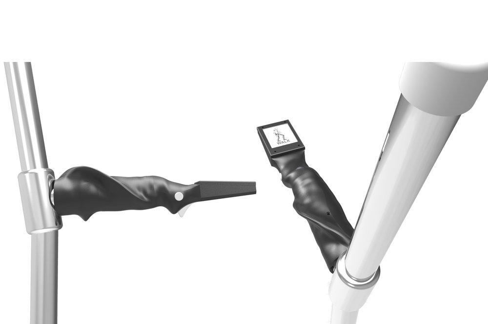 Intuïtief Aansturingssysteem - Het is erg belangrijk dat de piloot op een veilige en betrouwbare manier in het exoskelet kan lopen. Daarom heeft het team zijn eigen aansturingssysteem ontwikkeld. Het belangrijkste focuspunt van dit ontwerp is het bieden van een meer intuïtieve aansturing voor de piloot. Er is een nieuw krukhandvat ontworpen met geïntegreerde knoppen waarmee de piloot de mogelijkheid heeft om de verschillende bewegingen van het exoskelet te controleren. Daarnaast heeft het handvat ook een ingebouwd beeldscherm waarop de piloot kan zien in welke modus hij zich nu bevindt en waar hij de volgende modus kan selecteren. Zo geeft dit nieuwe 'input device' de piloot de ultieme controle over het exoskelet.