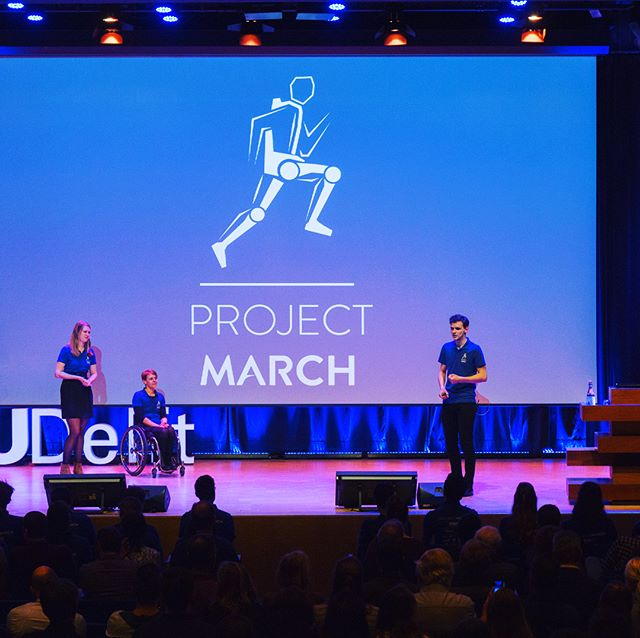 Last week we proudly presented the new design features of the MARCH III exoskeleton during our Design Presentation🌟 Our Team Manager, Lennart Schut, our Pilot, Sjaan Quirijns, and Chief Engineer, Carmen Koetsier, took the stage. Curious for the new design or full presentation? Go to our YouTube channel and check it out 🤖✨ #MARCHon #designpresentation #marchIII #meetmarch #exoskeleton #dreamteam #milestone