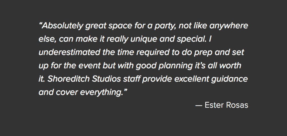Shoreditch Studios event testimonial