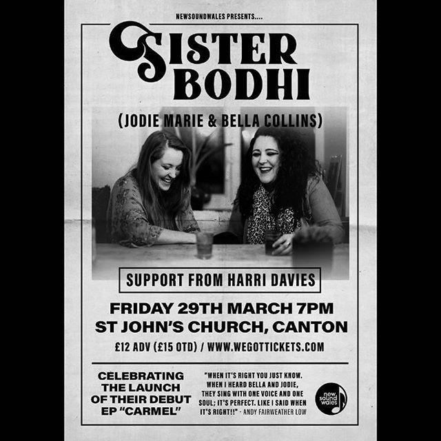 TONIGHT. @sisterbodhiband @jodiemariemusic DEBUT EP LAUNCH TONIGHT. ST JOHNS CHURCH, CANTON. CARDIFF. @harridaviesmusic support. Tickets: https://www.wegottickets.com/event/463304 #cardiff #cardiffmusic #cardiffmusicscene #cardiffmusicwomen #blues #country #roots #whatsoncardiff #sisterbodhiband #sisterbodhi  #stjohnschurchcardiff #newsoundwales