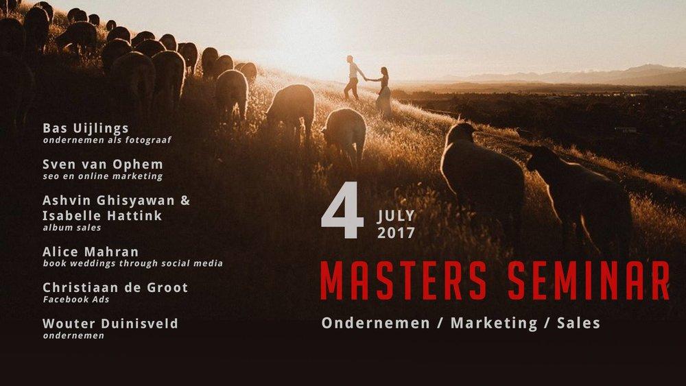 MASTERS SEMINAR (juli 2017) - Fotograaf zijn is meer dan enkel foto's nemen. Ook in het ondernemen moet je blijvend groeien. Verschillende professionele fotografen en andere ondernemers leerden me nog gerichter kijken naar het te bereiken doel van PART OF THE VISION.
