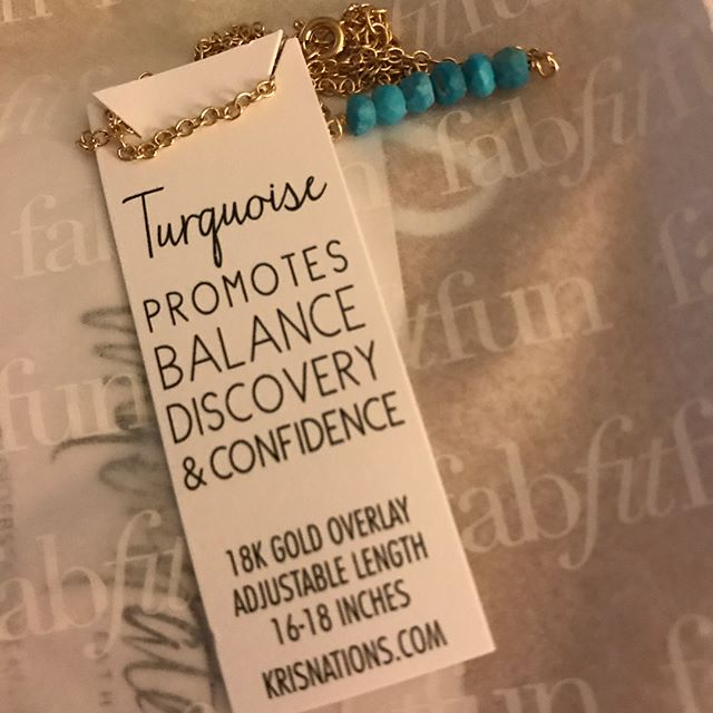Unboxing @fabfitfun Summer box. They chose the perfect necklace for me!  Balance. Discovery. Confidence. Just what I am seeking in my life right now. Which necklace did you get?