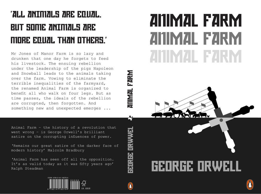 Penguin Book Cover Design  ____  This brief asked us to redesign the book cover for George Orwell's Animal Farm. The illustration on the cover echoed key motifs from the book highlighting the cyclical nature of history at that time. The typeface used was inspired by the soviet propaganda posters. The repeated title was a subtle reference to the lines of commandments. the animals wrote on the wall of the barn.