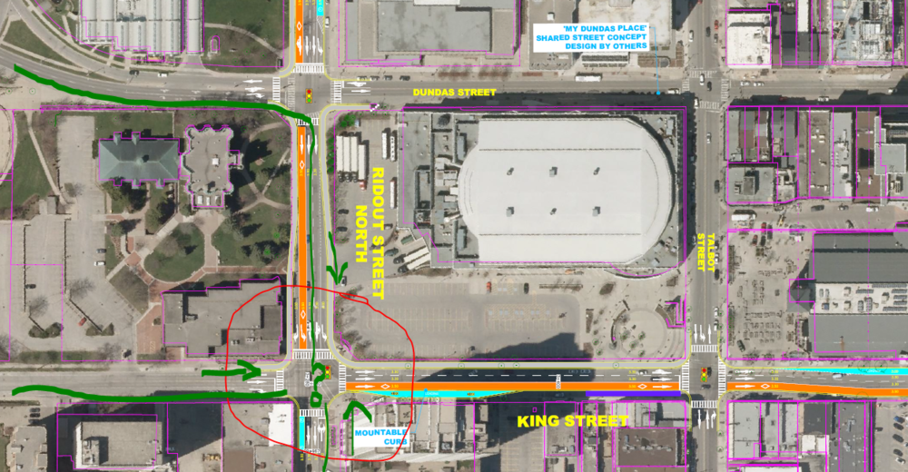 All existing major bike routes leading into downtown converge at King and Ridout St. After Shift, there is nowhere to go. The bike lane that formerly traveled eastbound on King has been removed. Mapped image clipped from Feb 28 Shift BRT posters.