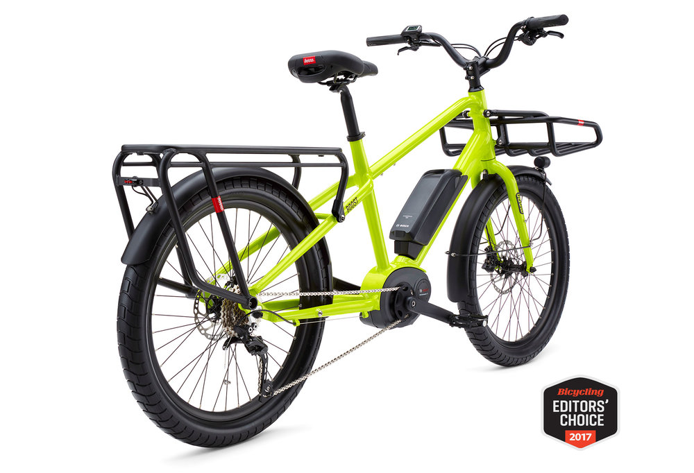 Benno Boost-E, the sport-utility bike that works for your lifestyle. Configure to carry loads of cargo, a passenger, or both! Two options for frame in sturdy step-over, and low step-through frame. $5300, including front rack.Arriving mid-May.