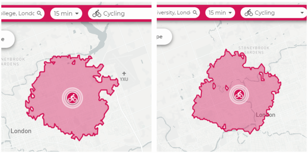 4 - Bikes get you there faster - Bikes are faster than driving, transit, cab, walking, or basically anything else for trips less than 5 km. Here's what 5 km looks like around Western and Fanshawe. How often do you really venture further away than 5k? Get a bike, go faster.