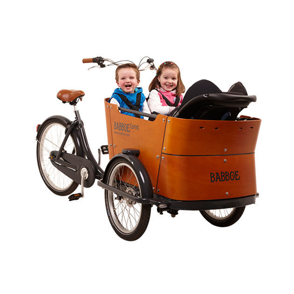 Babboe Curve - $4000   The Babboe Bakfiets is a staple of Dutch culture. The biggest box, the most cargo capacity, and comfiest ride. The Babboe Curve Bakfiets adds comfortable suspension to its handling, while it is capable of carrying up to four children or a month's supply of groceries with its stable front box design. These bikes can be found on city streets around the world. Roller brakes, fenders, full chain guard, and a comfortable saddle, with a 7-speed Shimano internal gear hub. Optional accessories include padded bench seats, a rain cover, and more!