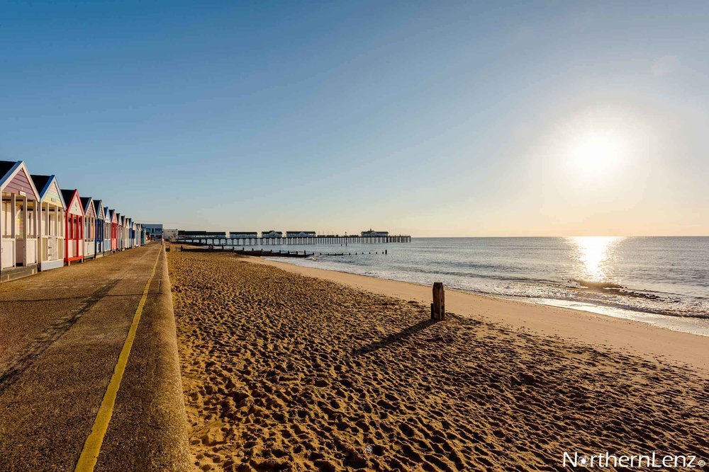Beach complete with huts at Southwold  Image Ref: CC10