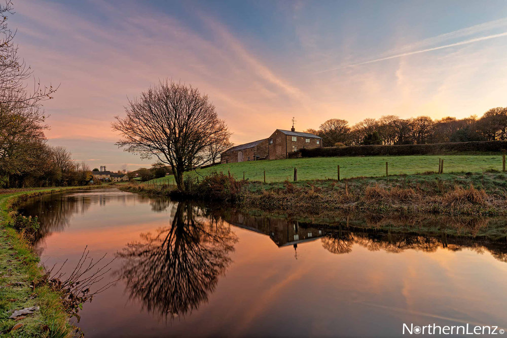 Dawn reflections on the Leeds & Liverpool canal, Lancashire  Image Ref: RP03