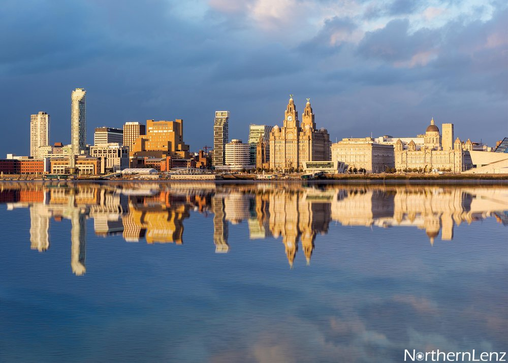 Late afternoon sunlight hitting Liverpool waterfront  Image Ref: UA09