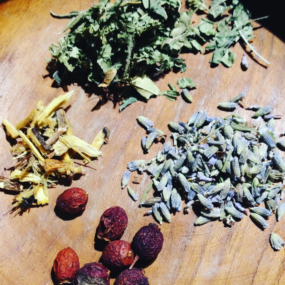 foraged seeds and herbs