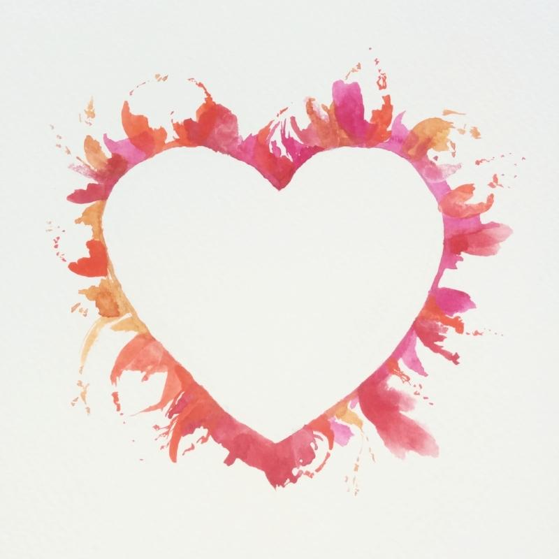 burning heart painting