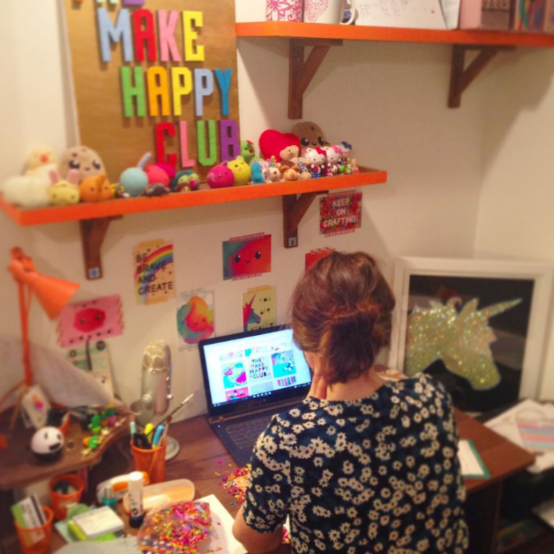 Becci Mai Ford working hard in her studio office at Ellbie Co.
