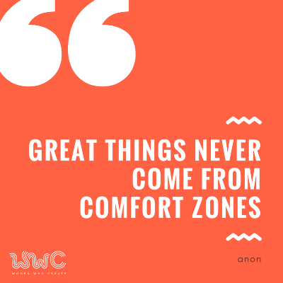 great things never come from comfort zone quote in coral and white text