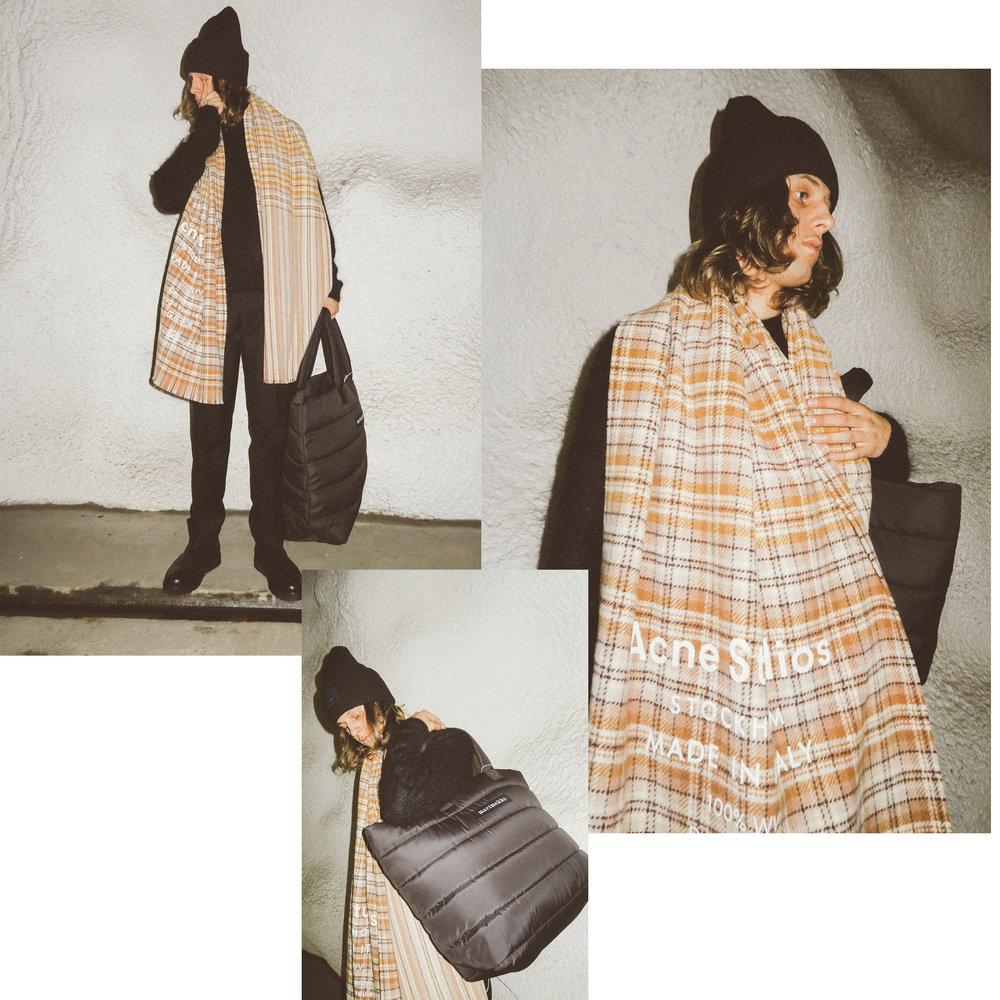 "Acne Studios scarf €200, Acne Studios knit 350€, Acne Studios pants 260€, Acne Studios beanie 120€, Marimekko ""Iso Milla"" shoulder bag 105€"