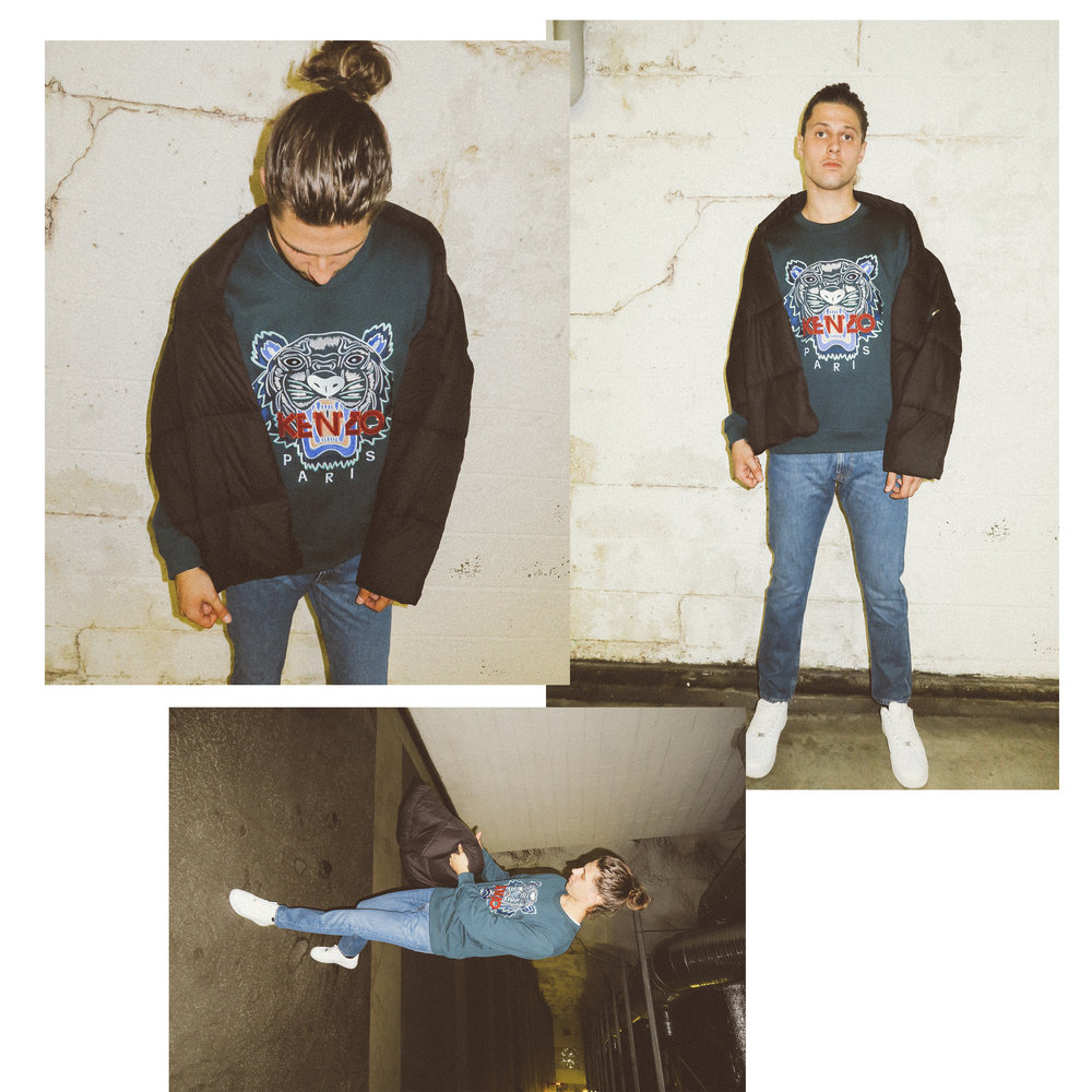 KENZO crewneck 205€, Calvin Klein jeans 199€, Marimekko scarf 80€