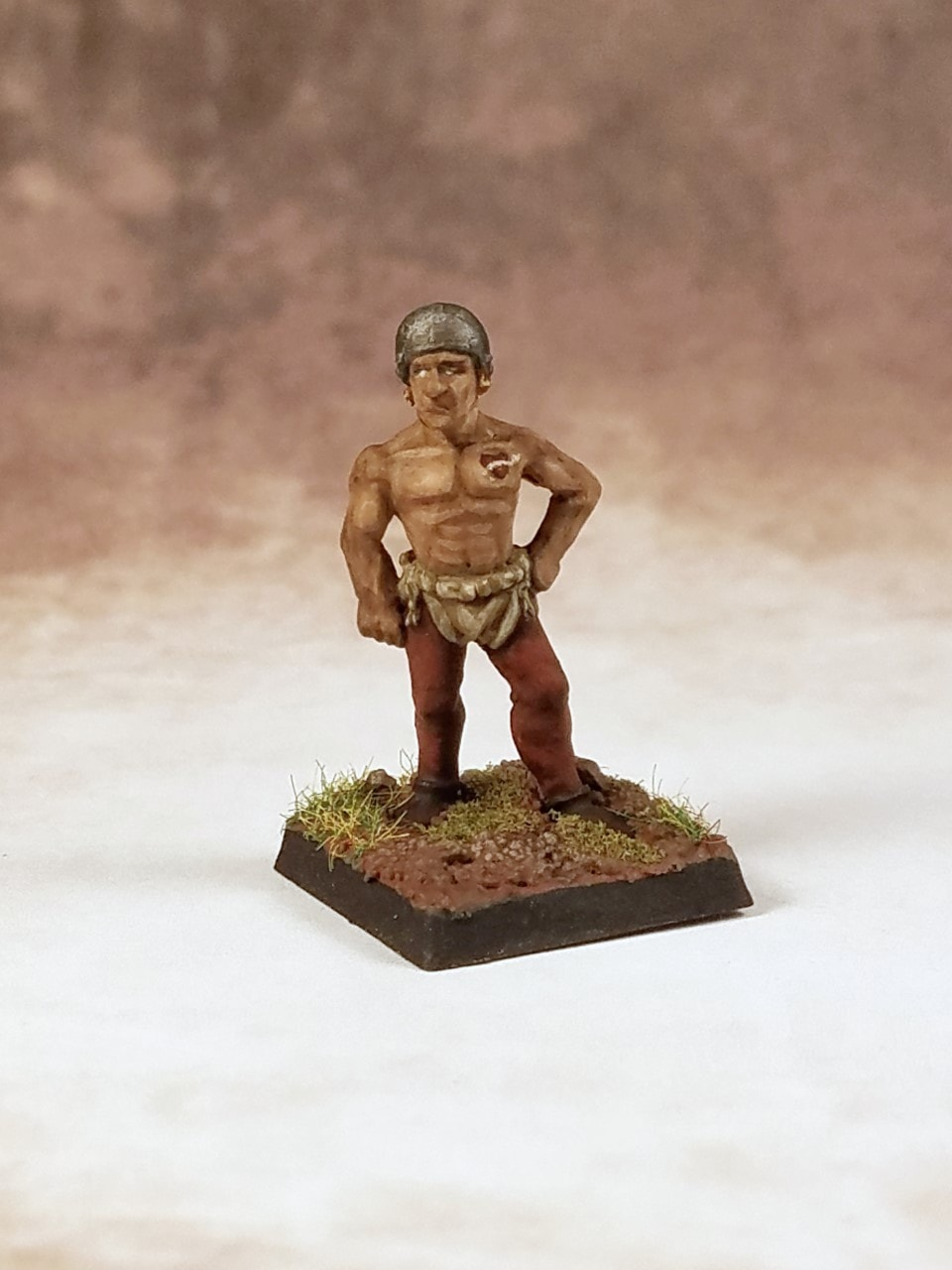 "Laborer from Monfel (Bretonnia) in my Mighty Empires campaign. The heart tattoo on his chest says Maman ""mother"". It doesn't really because I can't paint that small, but you get the idea."