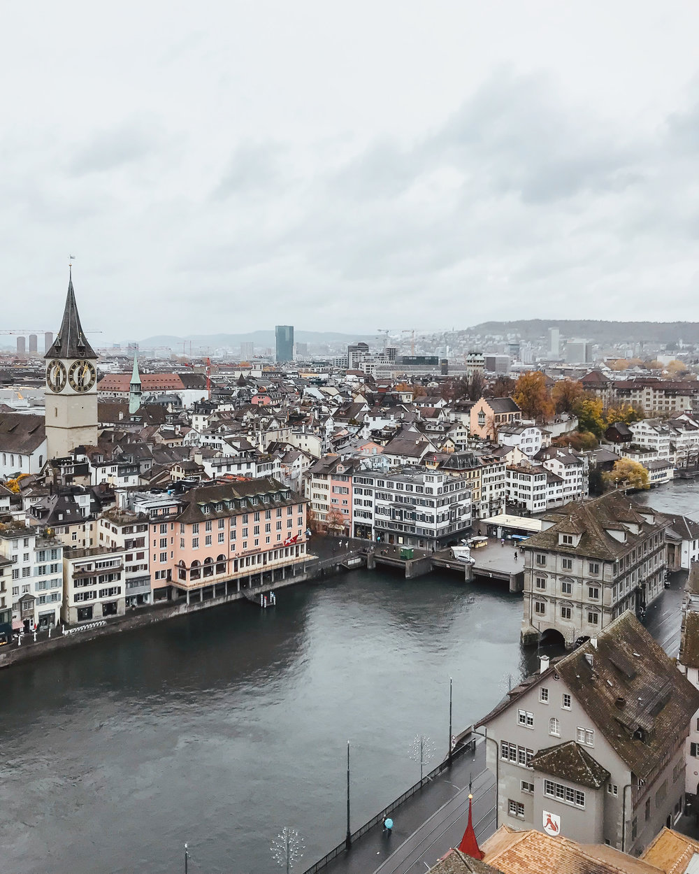 The old town and the Limmat from Grossmünster