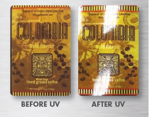 The difference between a basic printed coffee label, and one that was UV flood coated with the Elite 10!