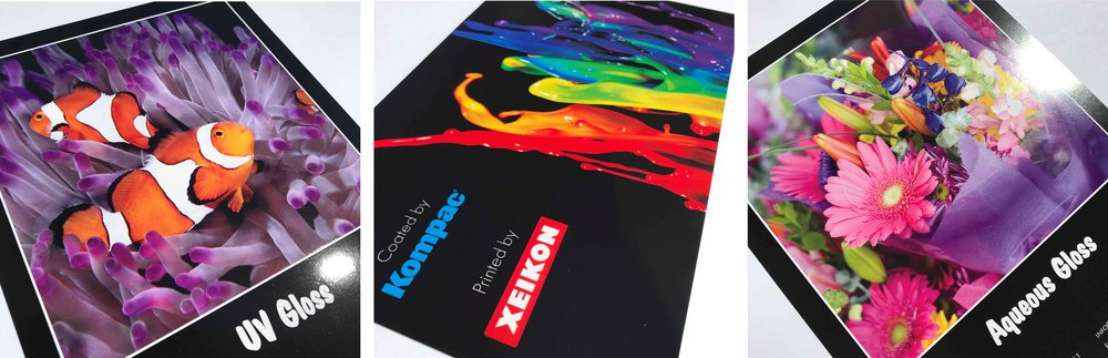 Pictured Left to Right:  UV gloss flood coating, sample printed by Xeikon and UV high gloss flood coating by Kompac, aqueous gloss flood coating