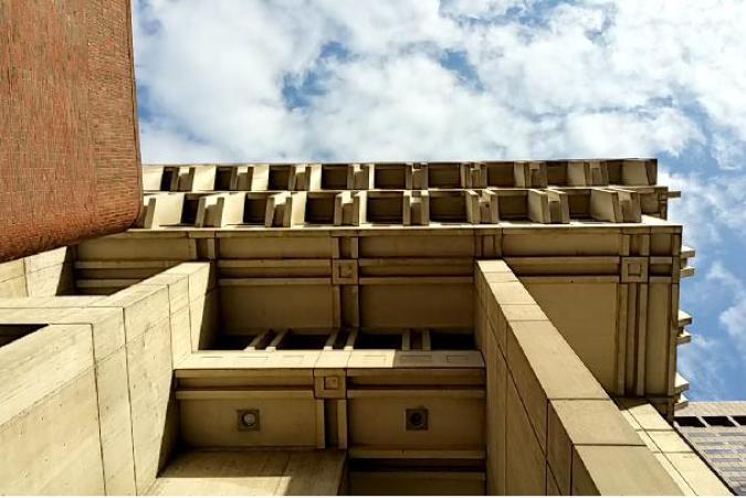 Exterior of Brutalist Concrete Building