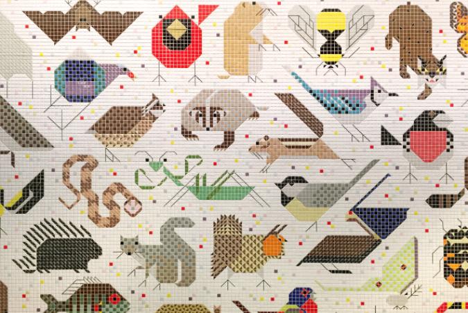 Tile Mosaic by artist Charlie Harper