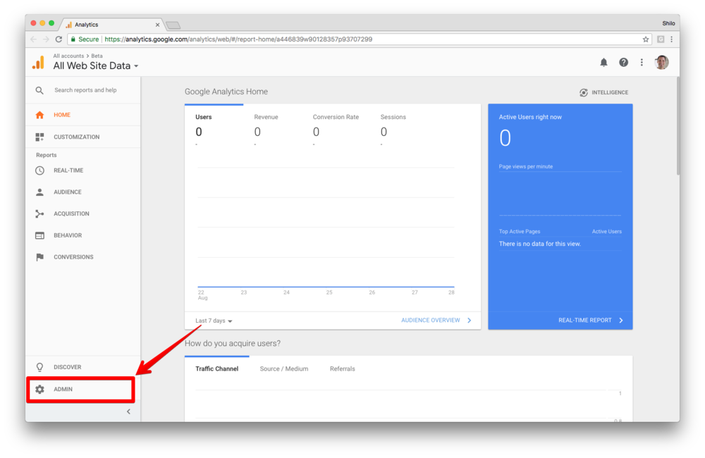 1)  Sign in to Google Analytics. .  2) Click  Admin , and navigate to the desired  account/property/view .